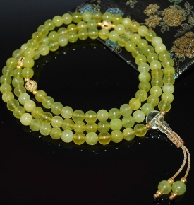 Natural Olivine Jade and Gold Mala
