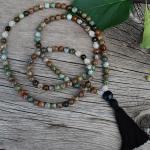 Green Opal, Cracked Quartz and Onyx Mala