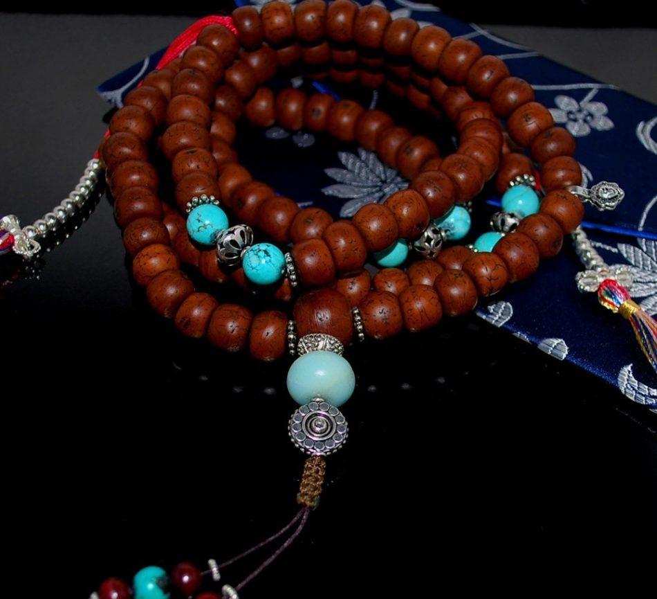 Bodhi Seed and Turquoise Mala