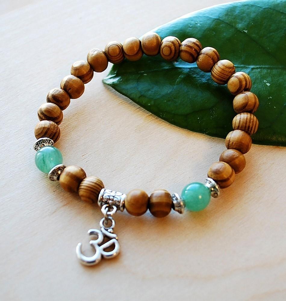 Om Bracelet with Jade & Silver