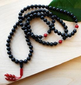 Black Onyx & Coral Mala