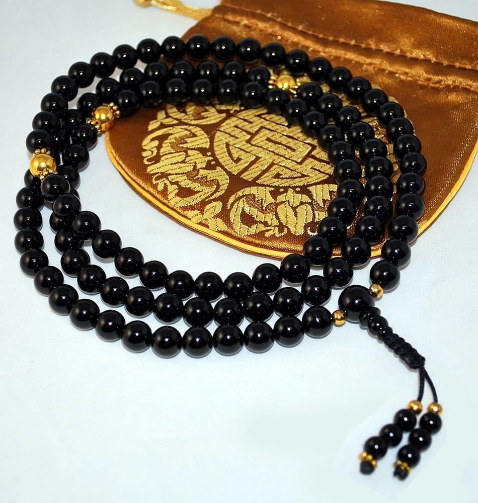 Black Onyx Amp Gold Mala