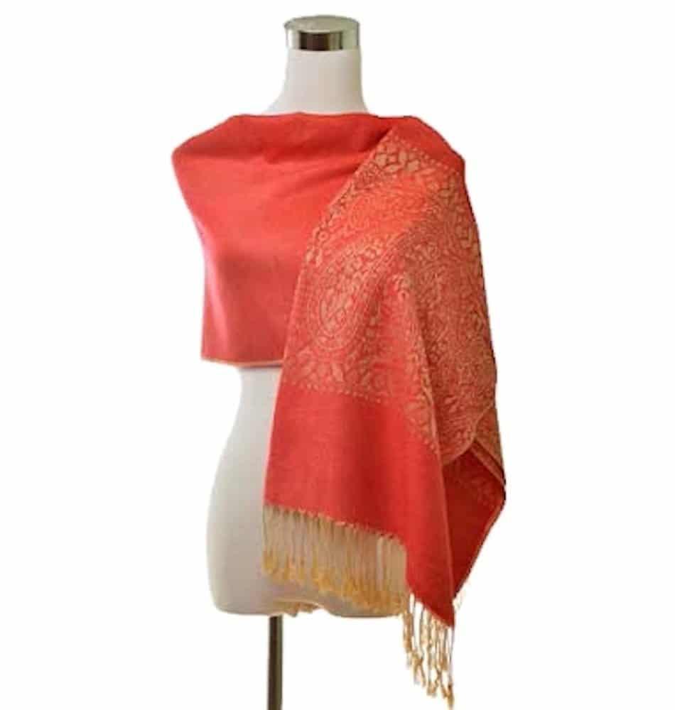 coral pashmina shawl