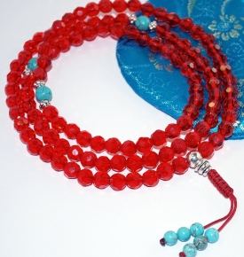 Tibetan Ruby Crystal Mala