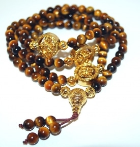 Mini Mala- Tiger Eye Dharmachakra