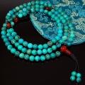 8mm Genuine Turquoise and Carnelian Mala