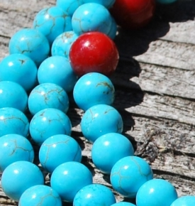 6mm Turquoise and Coral Mala Beads