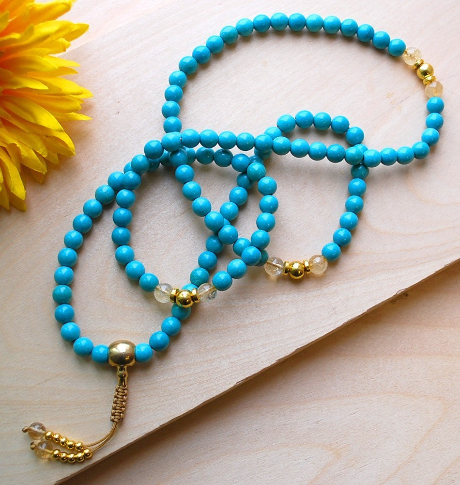 Very Turquoise & Gold Mala Necklace ZR32