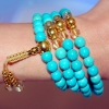 Turquoise & Gold Mala Necklace