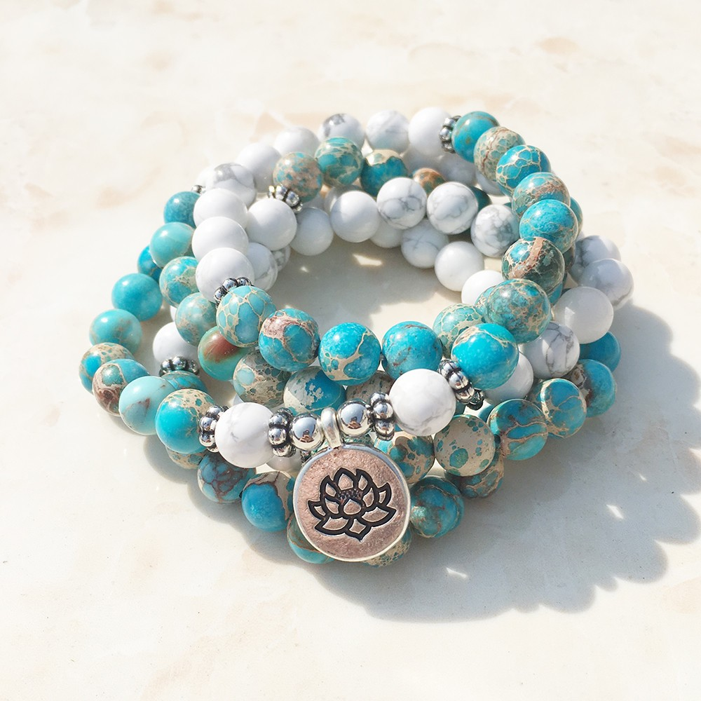 Turquoise magnesite howlite mala for Zen culture jewelry reviews