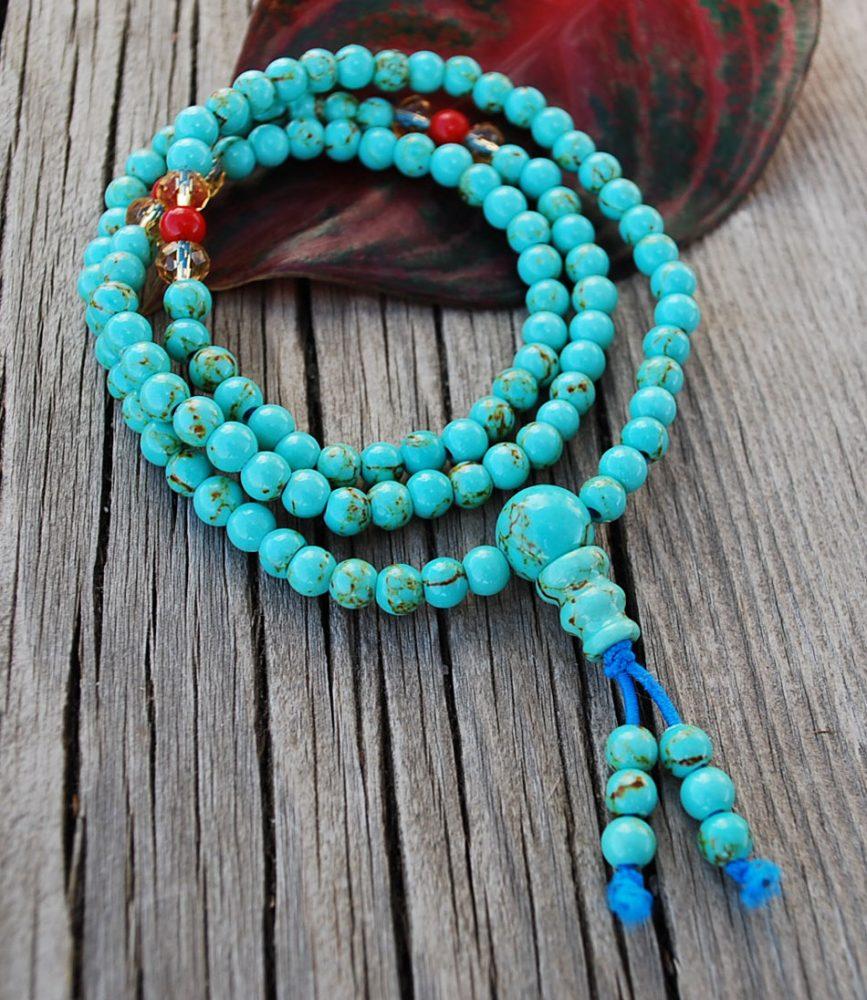 Mini Mala Turquoise Color