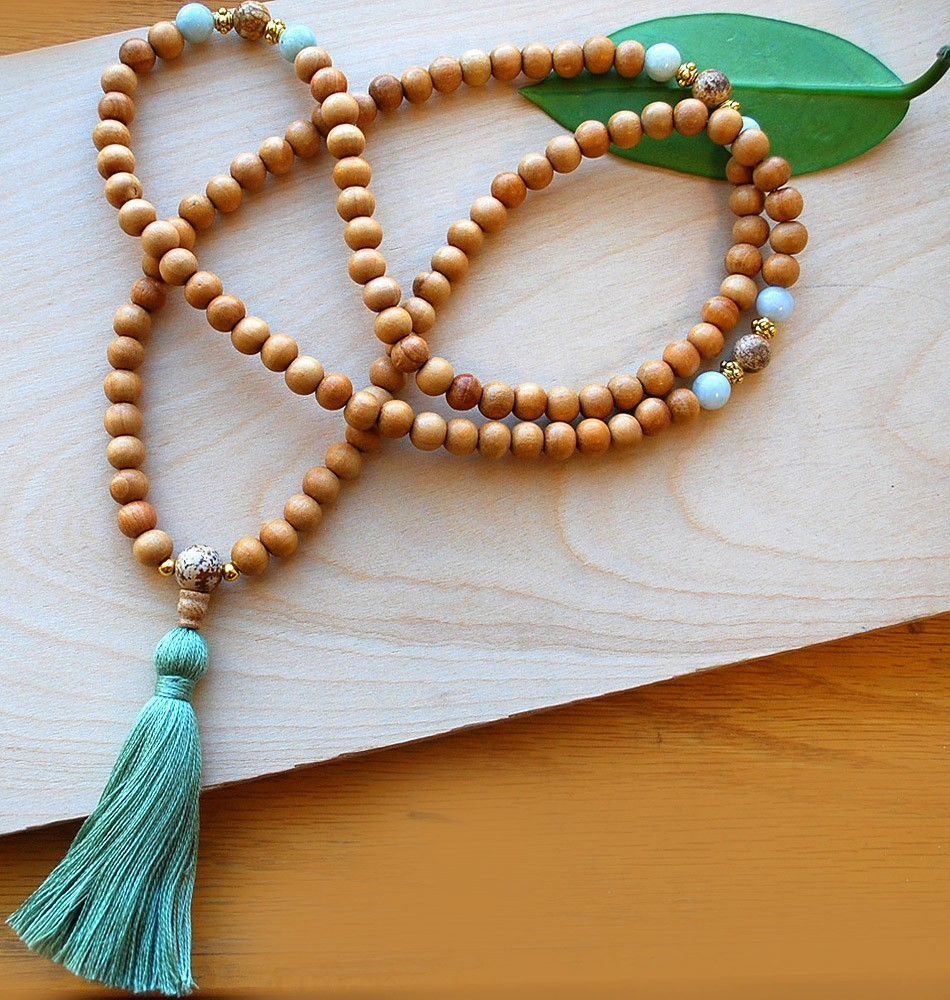 Japa mala wood jade sakura designs for Zen culture jewelry reviews