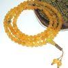 Amber Yellow Jade & Gold Mala