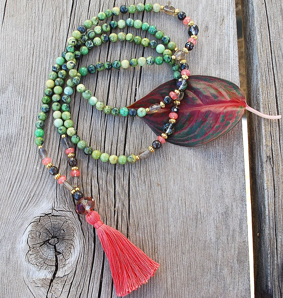 Chrysoprase Apple & Cherry Quartz Mala