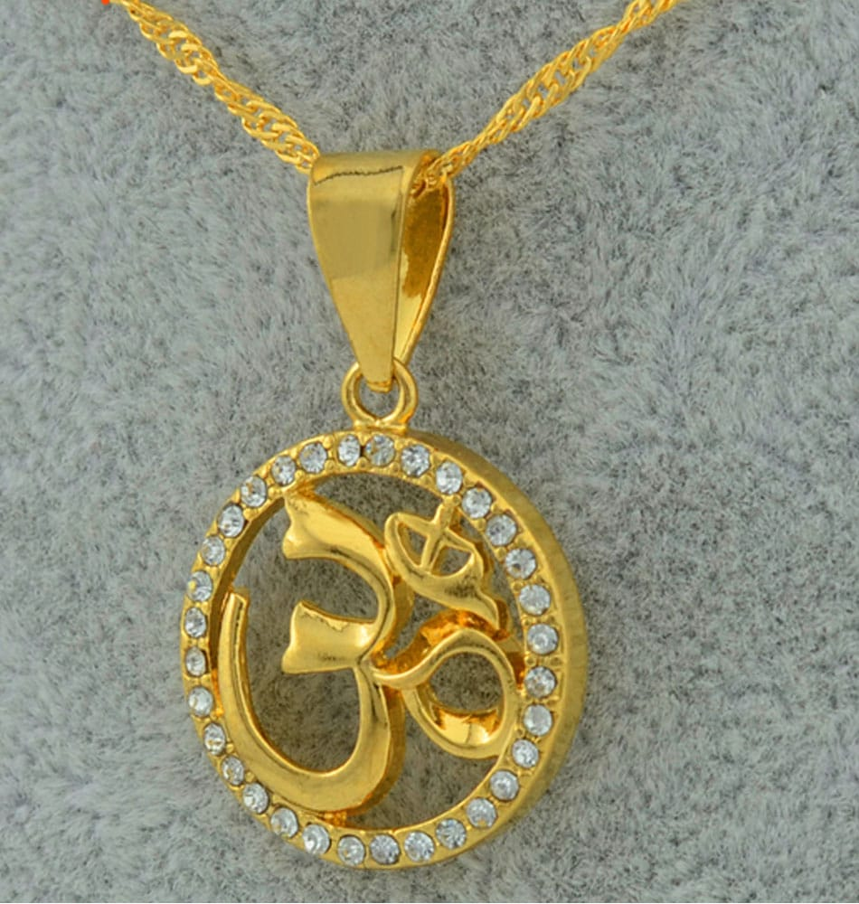 Om Pendant with CZ Pave