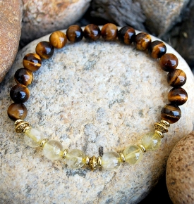 Tiger Eye Citrine Mala Bracelet