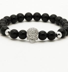 Skull Mala Bracelet Onyx