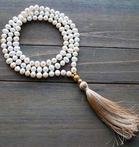 pearl gold yoga beads