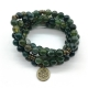Moss agate stretch mala beads