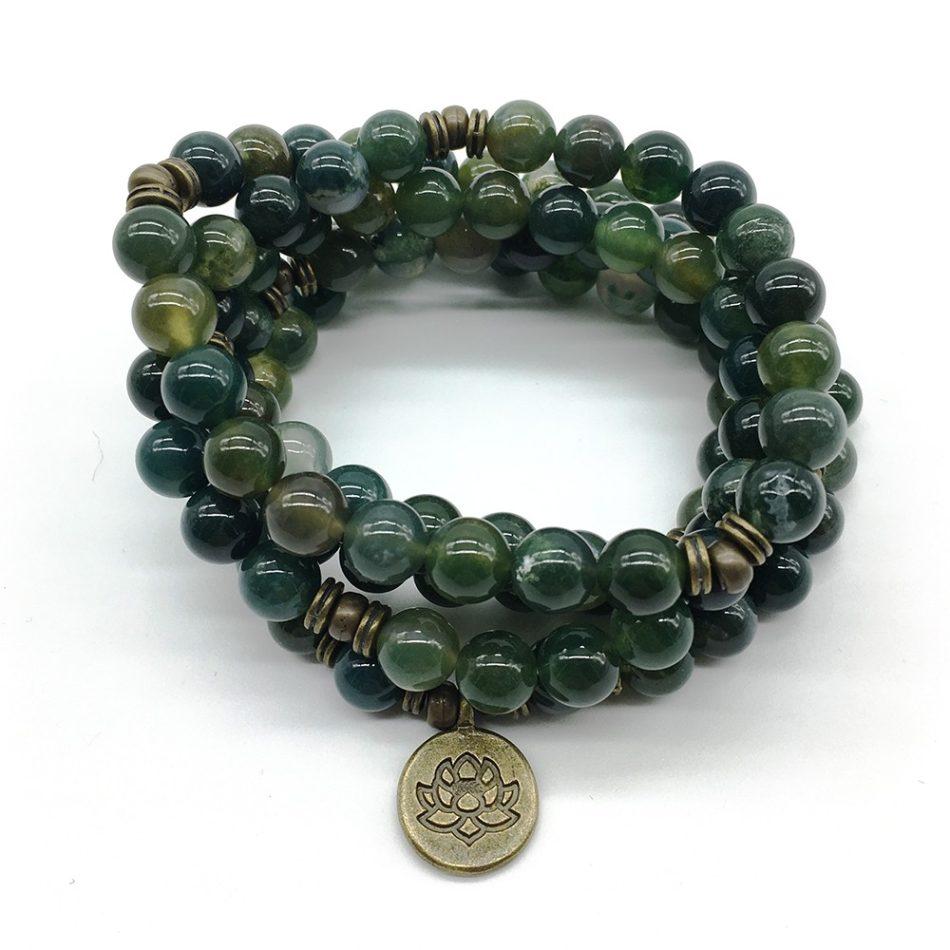 Moss agate stretch mala beads