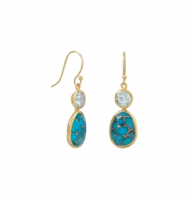 turquoise and topaz earrings gold