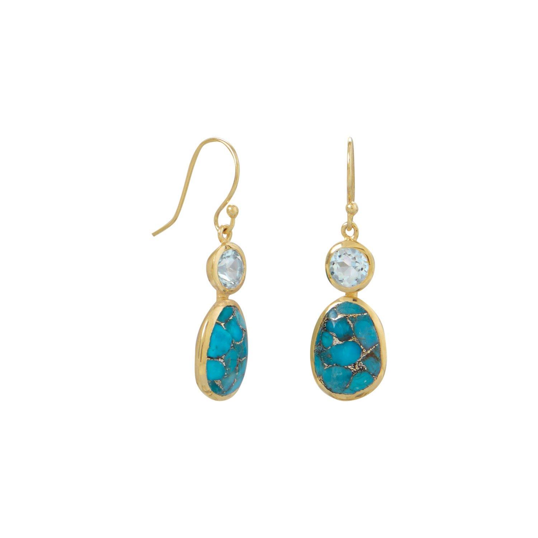 "Blue Topaz Gemstone Handmade Ethnic Fashion Jewelry Earring 2.1/"" SE6964"